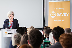London, UK. 30 May, 2019. Caroline Voaden, newly elected Liberal Democrat MEP for the South West Region, introduces Ed Davey, Liberal Democrat MP for Kingston and Surbiton and former Secretary of State for Energy and Climate Change, as he launches his campaign for the party leadership following excellent results for the party in the recent European and local elections.