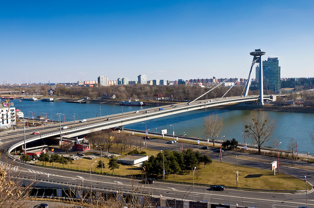 BRATISLAVA, SLOVAKIA - MARCH 7: View of the new bridge over the Danube on March 7, 2011. Bratislava is the capital city of Slovakia and a mayor tourist destination.