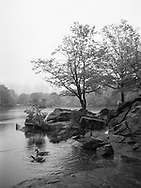 Misty scene at The Lake and The Hernshead in Central Park, New York City