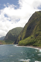 Hawaii: Molokai, scenic cliffs and seafins at Kalawao, looking at Waikoloa River Valley..Photo himolo 105-72261..Photo copyright Lee Foster, www.fostertravel.com, lee@fostertravel.com, 510-549-2202