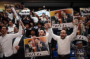 Ultra-Orthodox jews, supporters of Shas Party sing and hold  pictures of the late Rabbi Ovadia Yossef during the party's rally in  Tel Aviv, March 3, 2015. Some 10,000 supporters of the Ultra-Orthodox Shas Party gathered on the Nokia Stadium in Tel Aviv for the party's election campaign largest rally. Photo by Gili Yaari