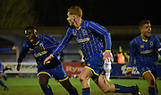 Wimbledon begin to celebrate their equaliserduring the FA Youth Cup match between U18 AFC Wimbledon and U18 Chelsea at the Cherry Red Records Stadium, Kingston, England on 9 February 2016. Photo by Michael Hulf.