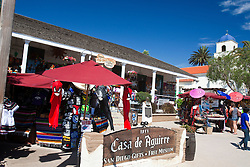 Exterior of Casa de Aguirre with vendors and gifts for sale, Old Town San Diego, California, United States of America
