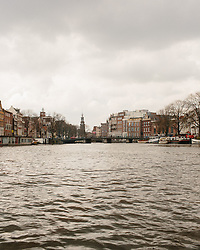 Scenic view of Amsterdam taken from the canal