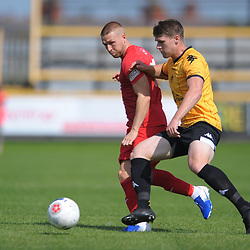 TELFORD COPYRIGHT MIKE SHERIDAN Darryl Knights of Telford battles for the ball with Reagan Ogle of Southport during the National League North fixture between Southport and AFC Telford United at Haig Avenue on Saturday, August 24, 2019<br /> <br /> Picture credit: Mike Sheridan<br /> <br /> MS201920-005