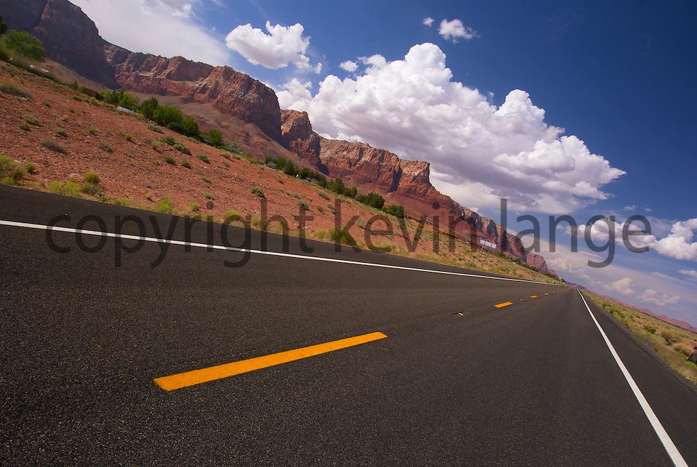 desert highway 89 cuts the sandstone landscape, vermillion cliffs national monument.  page, arizona.