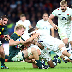 LONDON, ENGLAND - NOVEMBER 03: A big hit on Pieter-Steph du Toit of South Africa by Charlie Ewels of England during the Castle Lager Outgoing Tour match between England and South Africa at Twickenham Stadium on November 03, 2018 in London, England. (Photo by Steve Haag/Gallo Images)