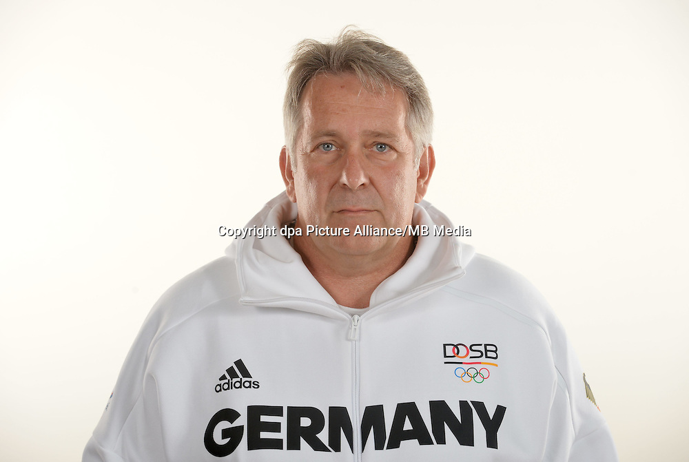 Claus Kobold poses at a photocall during the preparations for the Olympic Games in Rio at the Emmich Cambrai Barracks in Hanover, Germany. July 25, 2016. Photo credit: Frank May/ picture alliance. | usage worldwide