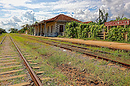 Tracks and train station in Candelaria, Artemisa, Cuba.