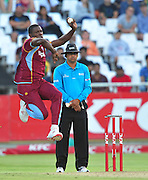 Sheldon Cottrell of the West Indies during the 2015 KFC T20 International game between South Africa and the West Indies at Newlands Cricket Ground, Cape Town on 9 January 2015 ©Ryan Wilkisky/BackpagePix