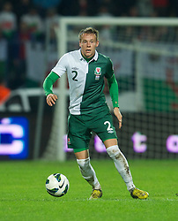 OSIJEK, CROATIA - Tuesday, October 16, 2012: Wales' Chris Gunter in action against Croatia during the Brazil 2014 FIFA World Cup Qualifying Group A match at the Stadion Gradski Vrt. (Pic by David Rawcliffe/Propaganda)