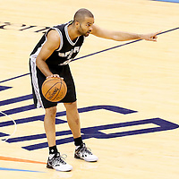 06 May 2016: San Antonio Spurs guard Tony Parker (9) sets the offense during the San Antonio Spurs 100-96 victory over the Oklahoma City Thunder, during Game Three of the Western Conference Semifinals of the NBA Playoffs at the Chesapeake Energy Arena, Oklahoma City, Oklahoma, USA.