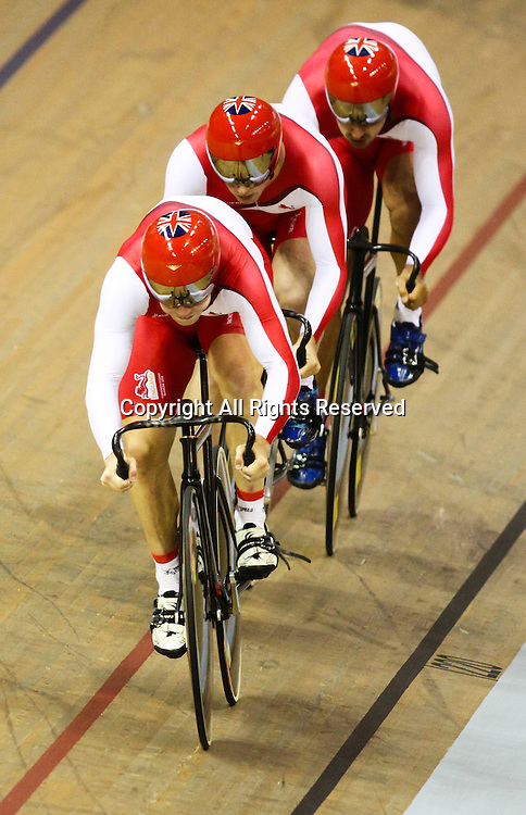 24.07.2014. Glasgow, Scotland. Glasgow Commonwealth Games. Mens Team Sprint Qualifying from the Sir Chris Hoy Velodrome. Team England break the commonwealth record in the second last heat