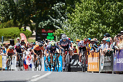 Ruth Winder (USA) leads the charge to the finish line on Stage 3 of 2020 Santos Women's Tour Down Under, a 109.1 km road race from Nairne to Stirling, Australia on January 18, 2020. Photo by Sean Robinson/velofocus.com