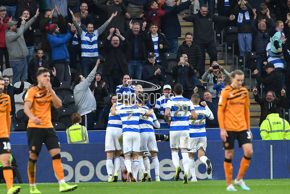 Queens Park Rangers celebrate penalty  goal scored by Queens Park Rangers player Eberechi Eze (10) to go 1-3 during the EFL Sky Bet Championship match between Hull City and Queens Park Rangers at the KCOM Stadium, Kingston upon Hull, England on 19 October 2019.