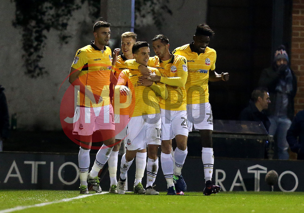 Zach Clough of Bolton Wanderers celebrates with teammates after scoring a goal to make it 1-0 - Mandatory by-line: Robbie Stephenson/JMP - 24/10/2016 - FOOTBALL - Gigg Lane - Bury, England - Bury v Bolton Wanderers - Sky Bet League One