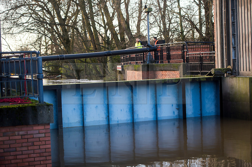 © Licensed to London News Pictures. 29/12/2015. York, UK. The Foss Barrier currently closed in York city centre. Several warnings of risk to life are sill in place in parts of Lancashire and Yorkshire where rainfall has been unusually high, causing heavy flooding. Photo credit: Ben Cawthra/LNP