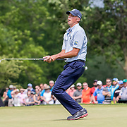 DUBLIN, OH - JUNE 04: PGA golfer Matt Kuchar reacts to his long putt on the 9th hole during the Memorial Tournament - Final Round on June 4, 2017 at Muirfield Village Golf Club in Dublin, Ohio (Photo by Khris Hale/Icon Sportswire)