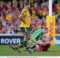 22 June 2013; Paul O'Connell, British & Irish Lions, is treated for an injury during the second half. British & Irish Lions Tour 2013, 1st Test, Australia v British & Irish Lions, Suncorp Stadium, Brisbane, Queensland, Australia. Picture credit: Stephen McCarthy / SPORTSFILE