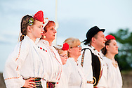 Brodsko kolo, Slavonski Brod, Croatia. On the second evening of the Festival, folk dancing groups perform in the town fortress (tvrđa). The Brodsko kolo has been running for over 50 years, and is the oldest folk dancing festival in Croatia. © Rudolf Abraham