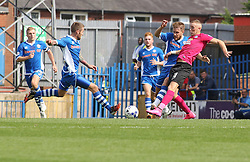 Marcus Maddison of Peterborough United in action with Thomas Kennedy (left) and Oliver Lancashire of Rochdale - Mandatory byline: Joe Dent/JMP - 07966386802 - 08/08/2015 - FOOTBALL - Spotland Stadium -Rochdale,England - Rochdale AFC v Peterborough United - Sky Bet League One