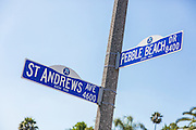 St Andrews Ave and Pebble Beach Dr Street Sign in Buena Park