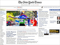 Front page of The New York Times website, November 7, 2010.