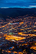 Plaza de Armas,Twilight, view from Saksaywayman,  Cusco, Urubamba Province, Peru