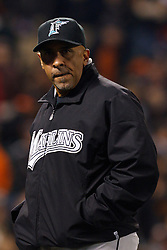 May 24, 2011; San Francisco, CA, USA;  Florida Marlins manager Edwin Rodriguez (36) returns to the dugout after making a pitching change against the San Francisco Giants during the ninth inning at AT&T Park. Florida defeated San Francisco 5-1.