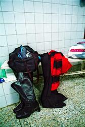 Vigo, Galicia, Spain.<br /> Players leave their clothes at the locker room. &copy; Carmen Secanella.