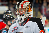 KELOWNA, BC - NOVEMBER 8: Mads Søgaard #30 of the Medicine Hat Tigers skates to the bench during a time-out against the Kelowna Rockets  at Prospera Place on November 8, 2019 in Kelowna, Canada. (Photo by Marissa Baecker/Shoot the Breeze)