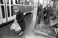 Prague, 2001: anziana ad una fermata degli autobus - bus stop<br /> &copy;Andrea Sabbadini