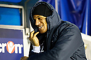 Picture by David Horn/Focus Images Ltd +44 7545 970036<br /> 28/01/2014<br /> DJ Campbell of Millwall jokes on the bend before the Sky Bet Championship match at The Den, London.