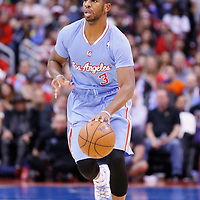 24 November 2013: Los Angeles Clippers point guard Chris Paul (3) brings the ball upcourt during the Los Angeles Clippers 121-82 victory over the Chicago Bulls at the Staples Center, Los Angeles, California, USA.