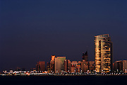 United Arab Emirates: Abu Dhabi.Skyline at Dusk, from the harbour
