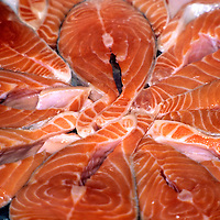 Close-Up of Fresh Raw Salmon Steaks on ice