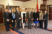 Dr. Lorna Jean Edmonds, Dr. Robert Frank, Dr. Krista McCallum Beatty, at a signing of a Memorandum of Understanding between Beijing International Studies University and Ohio University at Baker Center on October 15, 2013. Photo by Stephen Reiss.