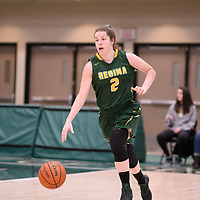 3rd year guard Michaela Kleisinger (2) of the Regina Cougars in action during the Women's Basketball Playoff Game on February  16 at Centre for Kinesiology, Health and Sport. Credit: Arthur Ward/Arthur Images