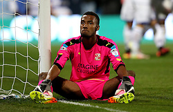 Lawrence Vigouroux of Swindon Town looks frustrated after conceding a goal to Conor Washington of Queens Park Rangers - Mandatory by-line: Robbie Stephenson/JMP - 10/08/2016 - FOOTBALL - Loftus Road - London, England - Queens Park Rangers v Swindon Town - EFL League Cup