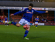 Ian Henderson with a shot during the The FA Cup match between Aldershot Town and Rochdale at the EBB Stadium, Aldershot, England on 7 December 2014.