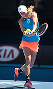 Johanna Larsson (SWE) in Day 2 of Australian Open play. Victoria Azarenka beat Larsson (SWE) 7-6, 6-2 in first round play of the 2014 Australian Open at Melbourne's Rod Laver Arena.