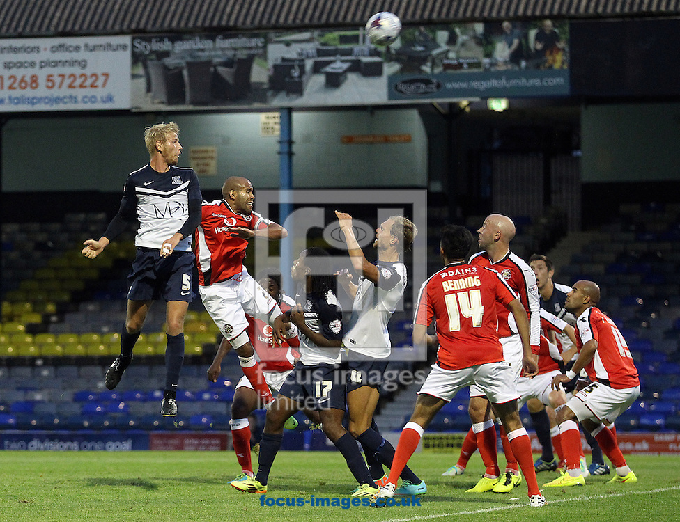 Adam Thompson of Southend heads for goal during the Capital One Cup First Round match at Roots Hall, Southend<br /> Picture by Paul Chesterton/Focus Images Ltd +44 7904 640267<br /> 12/08/2014