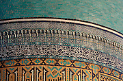 Detail of mosaic on blue dome, Chor-Bakr Necropolis, 16th century, Bukhara, Uzbekistan, pictured on July 10, 2010 in the afternoon. The memorial complex of Chor-Bakr, located around the tomb of Abu-Bakr-Said (died 970 AD), and his three brothers, who were descendants of the Prophet Muhammad, was originally commissioned by Abdullah Khan in 1559-63, and further developed by Adullahan II in 1858. Regarded as a Holy site it contains a Mosque, Khanagha and Madrasah and is plain in style. Bukhara, a city on the Silk Route is about 2500 years old. Its long history is displayed both through the impressive monuments and the overall town planning and architecture. Picture by Manuel Cohen.