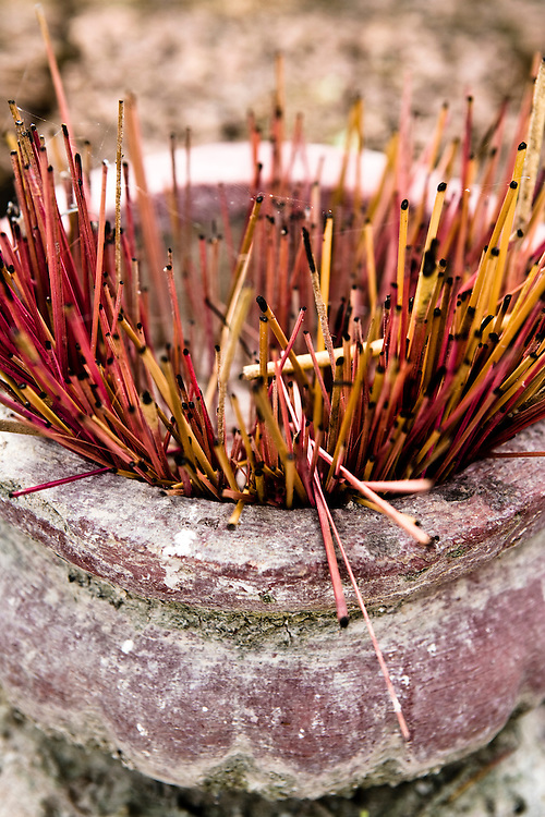 Temple incense near Soujourn resort. Siem Reap, Cambodia. Siem Reap, Cambodia