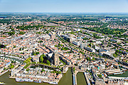 Nederland, Zuid-Holland,  Dordrecht, 10-06-2015; Gezicht op Dordrecht, binnenstad met Kalkhaven, Nieuwe Haven  en Grote Kerk. Rivier de Beneden Mewede aan de horizon.<br /> View of Dordrecht with rivers and  city harbours, inner city.<br /> luchtfoto (toeslag op standard tarieven);<br /> aerial photo (additional fee required);<br /> copyright foto/photo Siebe Swart