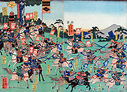 A Battle of Kawanakajima, Japan, Sengoku Period - Shinano Province (modern Ngano). Five major battles between 1553 and 1564.  Artist Utagawa Yoshikazu (active 1848-1863) 1857. Cavalry Horses Sword Bow Arrow Armour