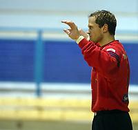 Håndball, 11. desember 2002. Eliteserien, Gildeserien herrer, Kragerø - Stord 25-32. Hlynur Johannesson , Stord , målvakt