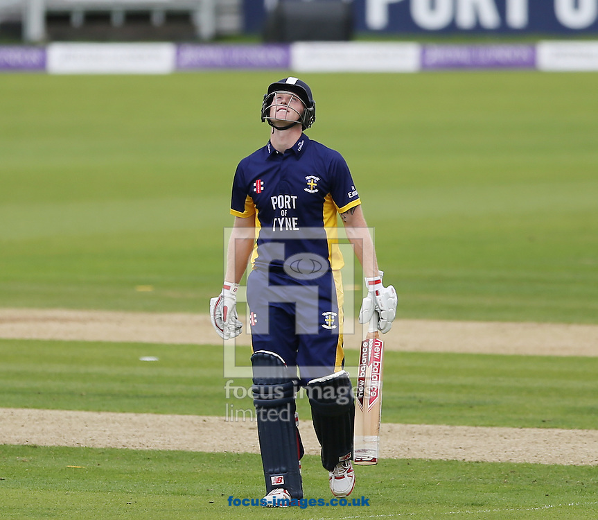 Ben Stokes of Durham County Cricket Club leaves the field after getting out during the Royal London One Day Cup match at Emirates Durham ICG, Chester-le-Street<br /> Picture by Simon Moore/Focus Images Ltd 07807 671782<br /> 06/09/2014