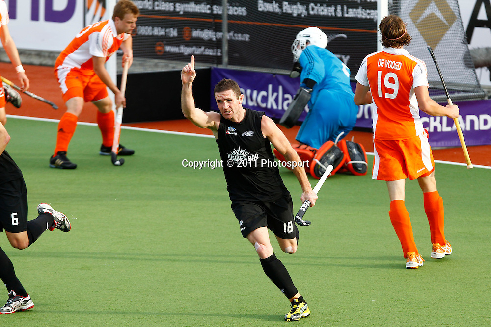 Phillip Burrows celebrates his gosl. FIH Champions Trophy - New Zealand v Netherlands, North Harbour Hockey Stadium, Albany, Auckland, New Zealand. Tuesday 6 December 2011. Photo: Ella Brockelsby/photosport.co.nz