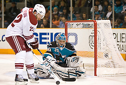 April 10, 2010; San Jose, CA, USA; San Jose Sharks goalie Evgeni Nabokov (20) stops a shot from Phoenix Coyotes right wing Lee Stempniak (22) during the first period at HP Pavilion. San Jose defeated Phoenix 3-2 in a shootout. Mandatory Credit: Jason O. Watson / US PRESSWIRE